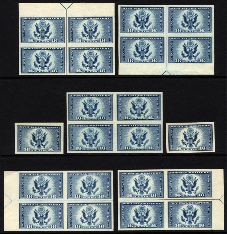 #771 10c Blue 1934 Air Post Special Delivery Imperf Arrow Blocks MNH 7 items