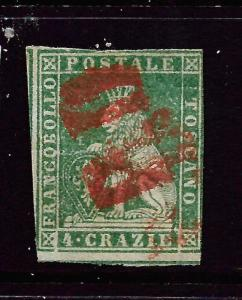 TUSCANY  1851-52  4c  YELLOW  GREEN  FU      SG 15  Sc 6