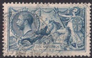 GB 1918 – 19 KGV 10/-d Dull Grey Blue Seahorse BW used SG 417 ( L1011 )