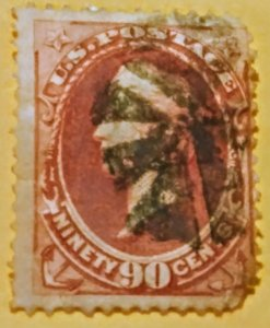 United States 191 used f on yellow/white porous paper cv 350.00