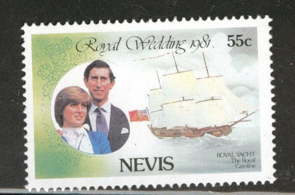 Nevis Scott 135 MNH** 1981 Charles and Diana Tall ship