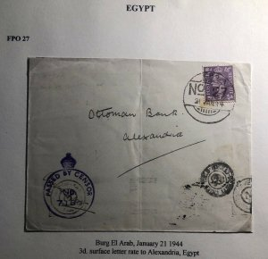 1944 Burg El Arab Egypt FPO 27 Censored Airmail Cover To Alexandria