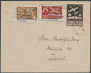 SWISS #C3 & #C6 ON 1925 SPECIAL AIRMAIL FLT COVER TIED PRIVATE VIGNETTE BS4596