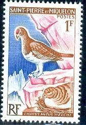 Bird Rock Ptarmigan, St. Pierre & Miquelon stamp SC#363 Mint