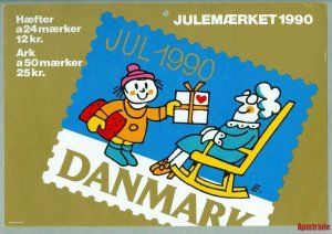 Denmark. Christmas Seal. 1990.1 Post Office,Display,Advertising Sign.Child,Gift