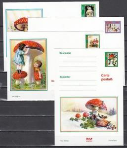 Romania, 2001 issue. Mushrooms on 4 Postal Cards.