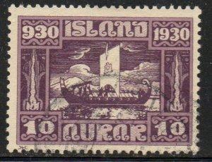 Iceland Sc  155 1930 10  aur Viking Funeral stamp used