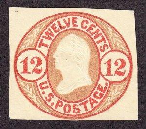 US U42 12c Envelope Cut Square Mint SCV $180
