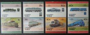 Nanumea-Tuvalu 1985 locomotives trains railways transport 8v MNH