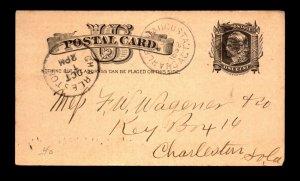 1882 Charleston & Augusta RPO Card - L18071