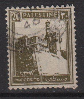 Palestine 1927 - Scott 77 used - 20m, Citaldel at Jerusalem