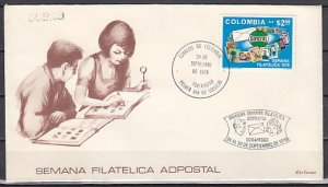 Colombia, Scott cat. 791. Philatelic Week. Stamp on Stamp. First day cover. ^