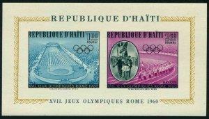 Haiti C165a,MNH.Michel Bl.14. Olympics Rome-1960.Stadium,Victor's parade
