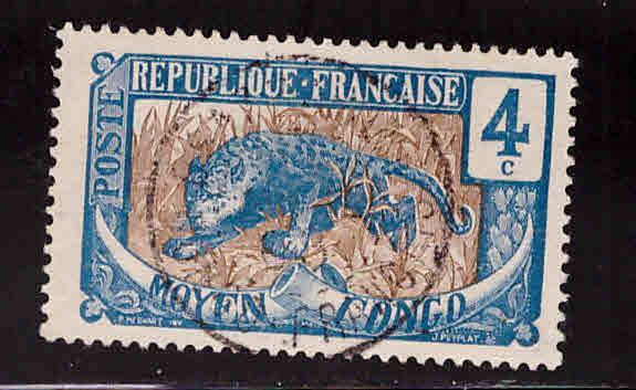 Moyen Middle Congo Scott 3 Used stamp 1907