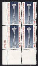 SCOTT # 1196 PLATE BLOCK 4 CENT SEATTLE WORLDS FAIR MINT NEVER HINGED GEM 1962