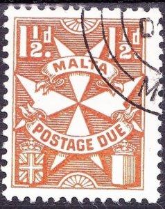 MALTA 1953 1.5d Yellow-Brown Postage Due SGD23 FU
