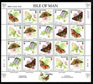 Isle of Man-Sc#571a-unused NH sheet of four strips-Insects-Butterflies-1993-