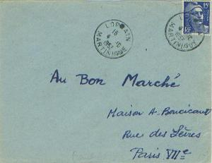 Martinique France 15F Marianne Gandon 1953 Lorrain, Martinique to Paris, Fran...
