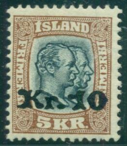 ICELAND #143 10kr on 5kr Ovpt, og, LH, VF, Scott $450.00
