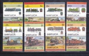 St Lucia 711-718 Se-tenant Pairs Set MNH Trains