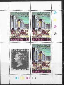 Barbuda #385  $2.00 Mini Sheet of 3 plus +penny black  (MNH) CV$2.75