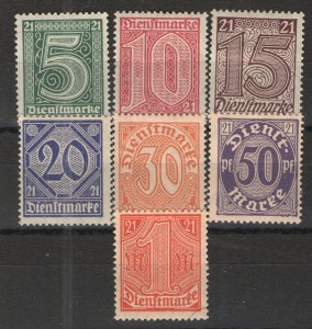 Germany - Empire 1920 Sc# OL9-OL15 MH/HR VG  Local Official set for Prussia