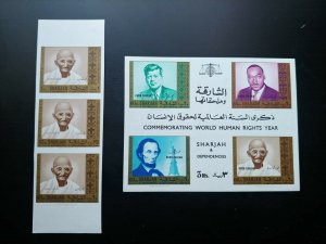 "V.RARE SHARJAH ""ONLY 03 STRIPS KNOWN"" GANDHI UNISSUED ""OVERPRINT"" KHOR FAKKAN"
