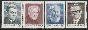 1988 Faroe Islands - Sc 175-8 - MNH VF - 4 single - Writers