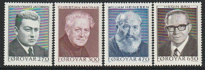 1988 Faroe Islands - Sc 175-8 - MNH VF - 4 single - Writers