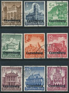 Stamp Germany Luxembourg Mi 33-41 Sc NB1-9 WW2 1941 Reich War Occupation Used
