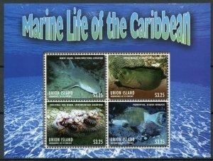 Union Island Gren St Vincent Stamps 2013 MNH Marine Life Caribbean Sharks 4v M/S