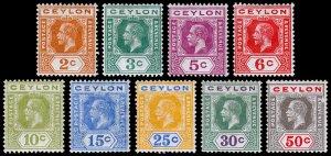 Ceylon Scott 201, 202a, 203, 204a, 205-209 (1912) Mint H VF, CV $43.50 C