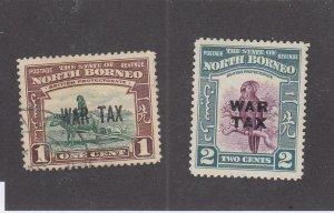 NORTH BORNEO (MK6606) # MR1-MR2 VF-MLH/USED 1-2c  1941 WAR TAX STAMPS  CV $16