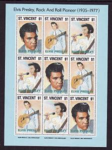 St. Vincent-Sc#1767a-unused NH sheet-Elvis Presley-1993-