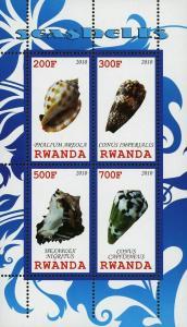 Rwanda  Seashell Marine Life Ocean Souvenir Sheet of 4 Stamps Mint NH