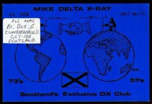 QSL QSO RADIO CARD Mike Delta X-Ray,Handshake,Globe,Alan, Scotland (Q3873)