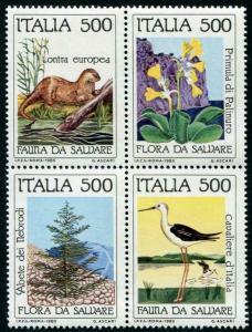 HERRICKSTAMP ITALY Sc.# 1637A 1985 Nature Block (Bird, Animal, Etc.) Mint NH