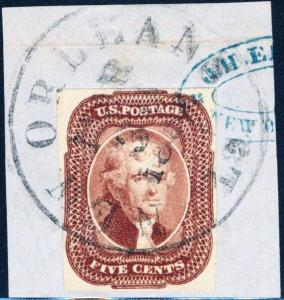 #12 ON PIECE WITH BLUE AND BLACK CANCEL, XF CV $875.00++ HV3565