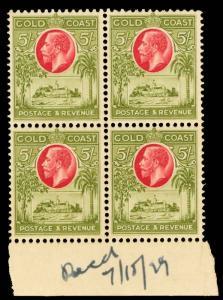Gold Coast Scott 98-107 Gibbons 103-112 Block of Stamps