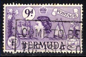 Bermuda 1953 - 62 QE2 9d Violet Sea Venture Used SG 143b ( J382 )
