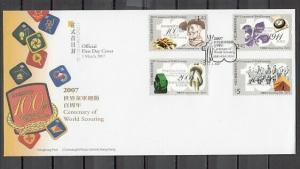 Hong Kong, Scott cat. 1255-1258. Scouting Centenary issue. First day cover.