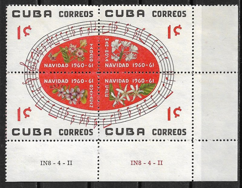 1960 Cuba 652a Christmas block of 4 MH OG