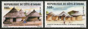 Ivory Coast 828-29,MI 942-3,MNH.Rural Housing:Guesseple Dan,M'Bagui Senoufo,1987