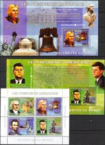 Congo 2006 Presidents of USA Kennedy Washington Lincoln sh. + 4 S/S MNH 2 scans