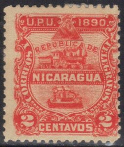 NICARAGUA SC# 21  *USED*  2c 1890 LOCOMOTIVE&TELEGRAPH SEE SCAN