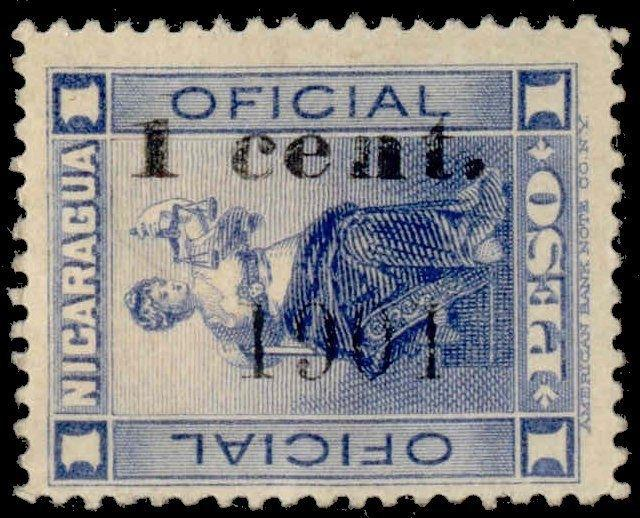 Nicaragua 1901 Unissued 1c Black Surcharge on 1p Official (on Scott # O147)