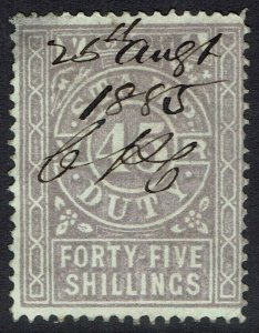 VICTORIA 1884 STAMP DUTY 45/- FISCAL USED