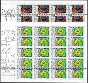 Liechtenstein 564-565 sheets,MNH.Michel 623-624 bogens. EUROPE CEPT-1975.Art.