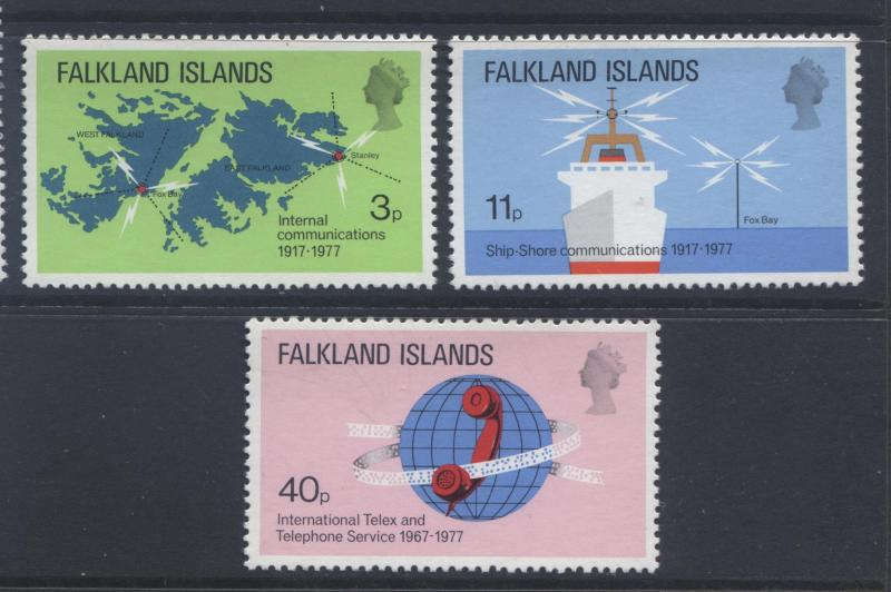 Falkland Is.- Scott 257-59 - Telecommunications - 1977- MVLH - Set of 3 Stamps