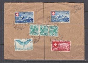 SWITZERLAND, 1939 Reg. cover, National Exhibition 30c. (2), Zurich to Australia.